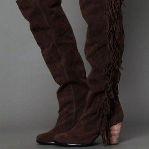 Free People Vegan faux Suede fringe Knee boots